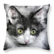 A Cat With Green Eyes Throw Pillow