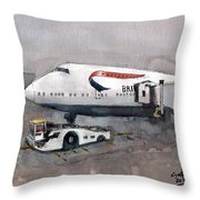 Push Back 747 Style London Throw Pillow