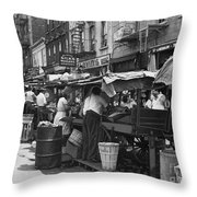 Pushcart Market, 1939 Throw Pillow