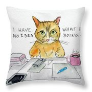 Puzzled Cat Throw Pillow