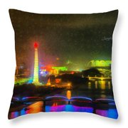 Pyongyang Night Scene Throw Pillow
