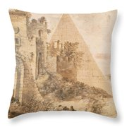 Pyramid Of Cestius And The Porta San Paolo, Rome Throw Pillow