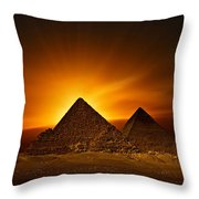 Pyramids Sunset Throw Pillow