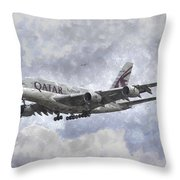 Qatar Airlines Airbus And Seagull Escort Art Throw Pillow