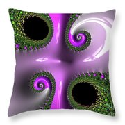 Quadruple Green And Pink Throw Pillow