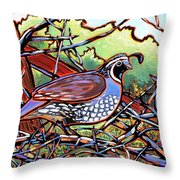 Quail Throw Pillow by Nadi Spencer