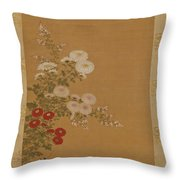Quail Under Autumn Flowers Throw Pillow