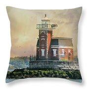 Quaint Stepping Stones Lighthouse Throw Pillow