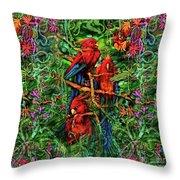 Qualia's Parrots Throw Pillow