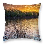 Quanah Parker Lake Sunrise Throw Pillow