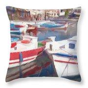 Quay On The Island Of Crete Throw Pillow