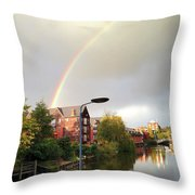 Quayside Double Rainbow Throw Pillow