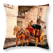 Quebec City Carriage Ride Throw Pillow