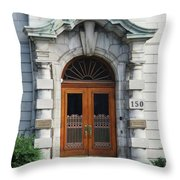 Quebec City Doors 1 Throw Pillow
