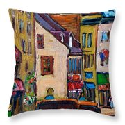 Quebec City Street Scene  Caleche Ride Throw Pillow