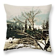 Quebec In January Throw Pillow