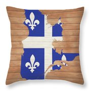 Quebec Rustic Map On Wood Throw Pillow