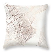 Quebec Street Map Colorful Copper Modern Minimalist Throw Pillow