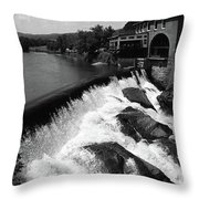 Quechee, Vermont - Falls 3 Bw Throw Pillow