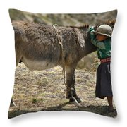Quechua Girl Hugging His Donkey. Republic Of Bolivia. Throw Pillow