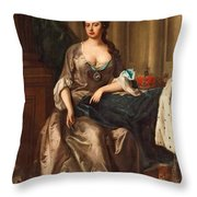 Queen Anne Og England Represented  Throw Pillow