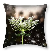 Queen Annes Lace And Sparkles At Dusk Throw Pillow