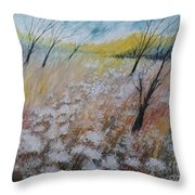 Queen Anne's Lace, Gouache Painting Throw Pillow