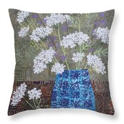 Queen Anne's Lace In Blue Vase Throw Pillow