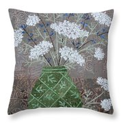 Queen Anne's Lace In Green Vase Throw Pillow