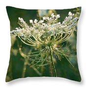 Queen Anne's Lace In Green Vertical Throw Pillow
