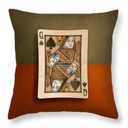 Queen Of Spades In Wood Throw Pillow