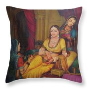 Queen Princess Sitting  Dressing From Her Maids Kaneej  Royal Art Oil Painting On Canvas Throw Pillow