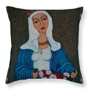 Queen St Isabel - The Miracle Of The Roses Throw Pillow