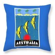 Queensland Great Barrier Reef - Restored Vintage Poster Throw Pillow