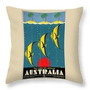 Queensland Great Barrier Reef - Vintage Poster Vintagelized Throw Pillow