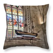 Quelven Church, Brittany, France, Ship Throw Pillow