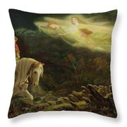 Quest For The Holy Grail Throw Pillow by Arthur Hughes