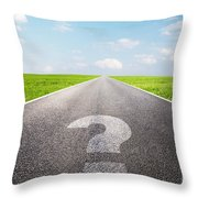 Question Mark Symbol On Long Empty Straight Road Throw Pillow