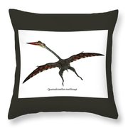Quetzalcoatlus Flying Reptile With Font Throw Pillow