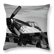 Quick Silver In Black And White Throw Pillow