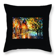Quiet Corner-garden On The Stones - Palette Knife Oil Painting On Canvas By Leonid Afremov Throw Pillow