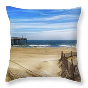Quiet Day On The Beach Throw Pillow
