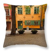 Quiet Little Square In Old Gamla Stan In Stockholm Sweden Throw Pillow