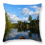 Quiet Paddle Throw Pillow by Larry Ricker
