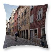 Quiet Street In Rovinj - Croatia Throw Pillow