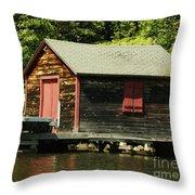 Quiet Sunapee Fishing Cabin Throw Pillow