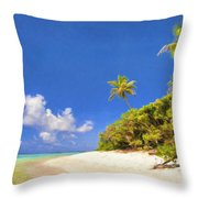 Quiet Tahiti Beach Throw Pillow