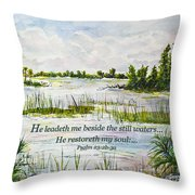 Quiet Waters Psalm 23 Throw Pillow