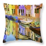 Quiet Waterway Reflections Throw Pillow