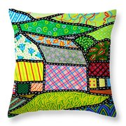 Quilted Bath County Barn Throw Pillow